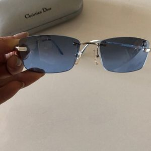 Christian Dior blue tinted silver sunglasses
